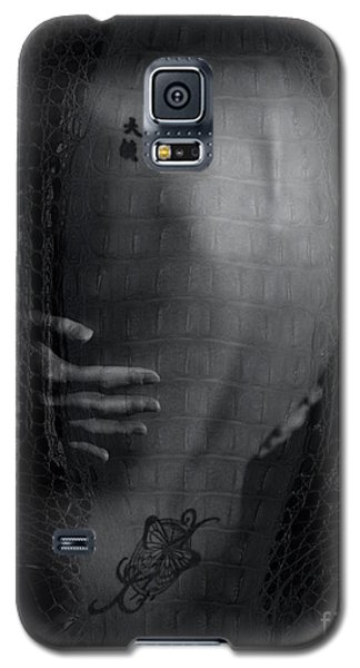 Galaxy S5 Case featuring the photograph Girl's Back With Tattoo. Studio Shot by Michael Edwards