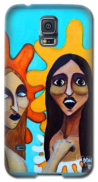 Galaxy S5 Case featuring the painting Girls Caught In Fraganti by Don Pedro De Gracia
