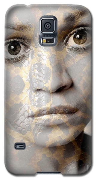 Galaxy S5 Case featuring the photograph Girls Face With Snake Skin Texture by Michael Edwards