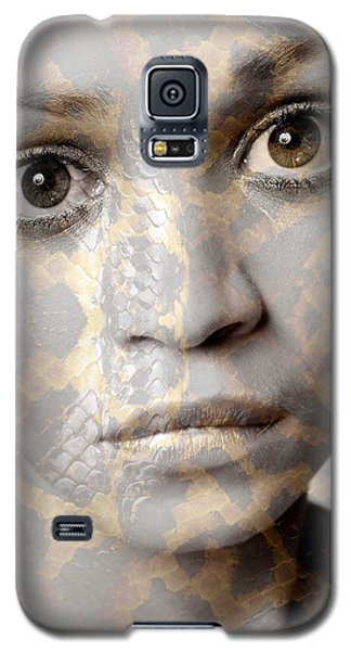 Girls Face With Snake Skin Texture Galaxy S5 Case by Michael Edwards