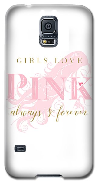Galaxy S5 Case featuring the digital art Girls Love Pink Woman Silhouette by Tracie Kaska