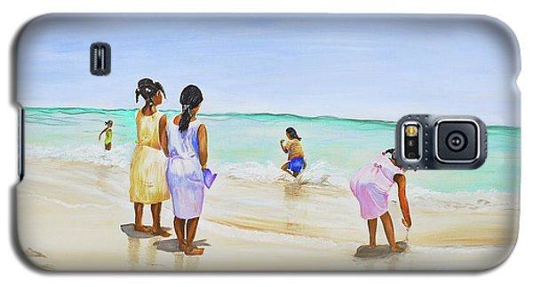 Galaxy S5 Case featuring the painting Girls On The Beach by Patricia Piffath