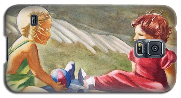 Galaxy S5 Case featuring the painting Girls Playing Ball  by Marilyn Jacobson