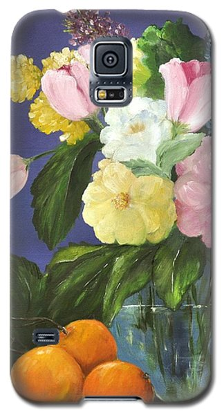 Galaxy S5 Case featuring the painting Glass Bowl And Oranges by Carol Sweetwood