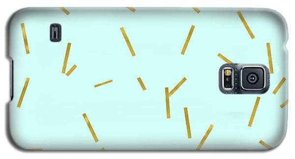 Beverly Hills Galaxy S5 Case - Glitter Confetti On Aqua Gold Pick Up Sticks Pattern by Tina Lavoie