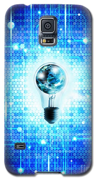 Globe And Light Bulb With Technology Background Galaxy S5 Case