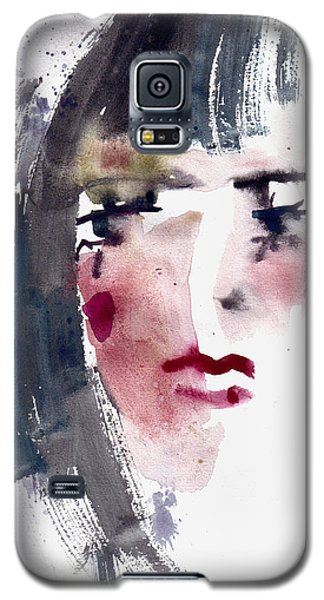 Galaxy S5 Case featuring the painting Gloomy Woman  by Faruk Koksal