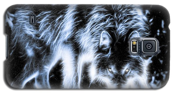 Galaxy S5 Case featuring the photograph Glowing Wolf In The Gloom by Rikk Flohr