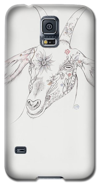 Galaxy S5 Case featuring the drawing Goat by Karen Robey