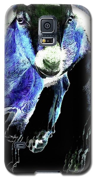 Goat Pop Art - Blue - Sharon Cummings Galaxy S5 Case by Sharon Cummings