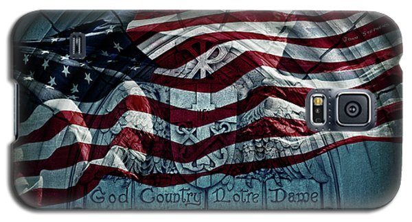 God Country Notre Dame American Flag Galaxy S5 Case by John Stephens