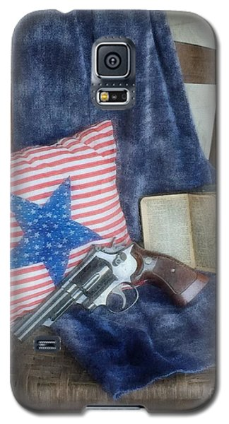 Galaxy S5 Case featuring the photograph God, Guns And Old Glory by Benanne Stiens