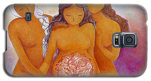 Galaxy S5 Case featuring the painting Goddesses In Birth  by Gioia Albano
