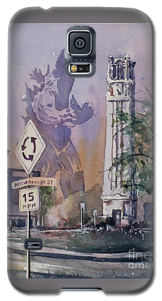 Galaxy S5 Case featuring the painting Godzilla Smash Ncsu- Raleigh by Ryan Fox