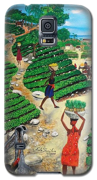 Galaxy S5 Case featuring the painting Going To The Marketplace #4 -  Walking Through The Terraces by Nicole Jean-Louis