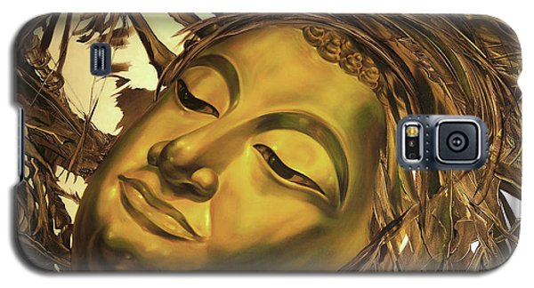 Galaxy S5 Case featuring the painting Gold Buddha Head by Chonkhet Phanwichien