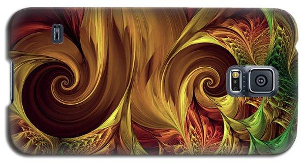 Galaxy S5 Case featuring the digital art Gold Curl by Deborah Benoit