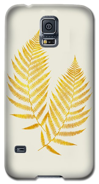 Galaxy S5 Case featuring the mixed media Gold Fern Leaf Art by Christina Rollo