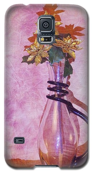 Gold Flowers Pink Background Galaxy S5 Case