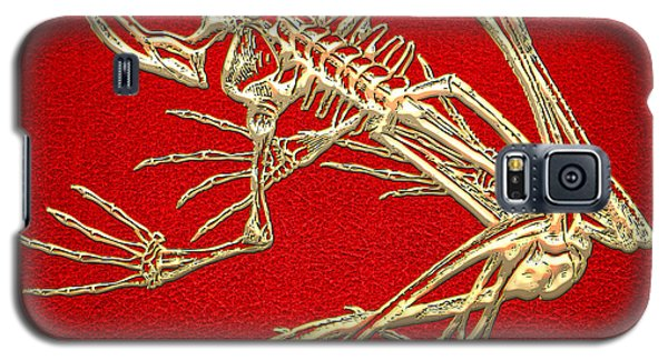 Gold Frog Skeleton On Red Leather Galaxy S5 Case by Serge Averbukh