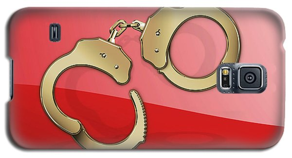 Nerd Galaxy S5 Case - Gold Handcuffs On Red by Serge Averbukh