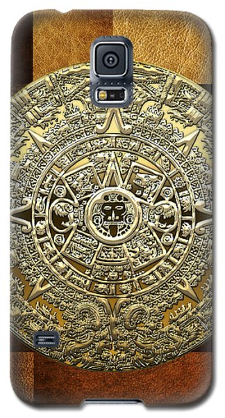 Gold Mayan-aztec Calendar On Brown Leather Galaxy S5 Case