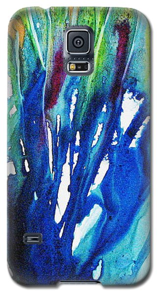 Galaxy S5 Case featuring the painting Gold Nuggets And Blue by Joan Hartenstein