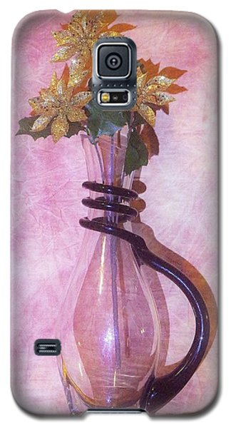 Gold On Pink Flowers Galaxy S5 Case