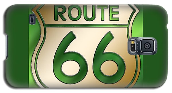 Galaxy S5 Case featuring the digital art Gold Route 66 Sign by Chuck Staley
