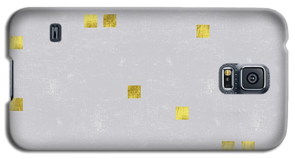 Gold Scattered Square Confetti Pattern On Grey Linen Texture Galaxy S5 Case by Tina Lavoie