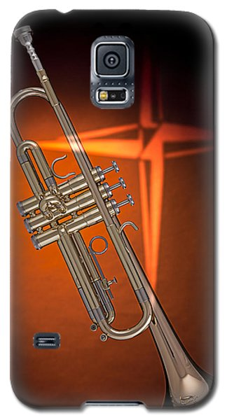 Gold Trumpet With Cross On Orange Galaxy S5 Case