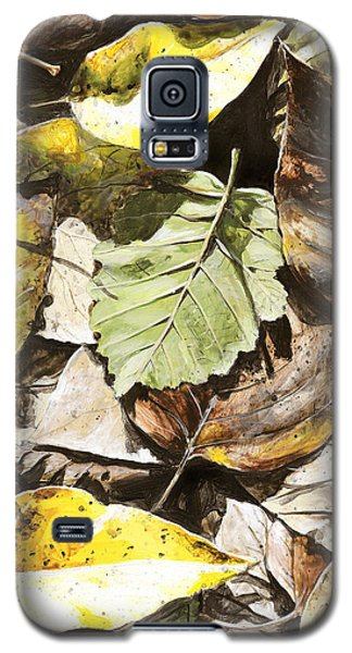Galaxy S5 Case featuring the painting Golden Autumn - Talkeetna Leaves by Karen Whitworth