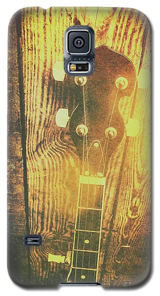 Golden Banjo Neck In Retro Folk Style Galaxy S5 Case by Jorgo Photography - Wall Art Gallery
