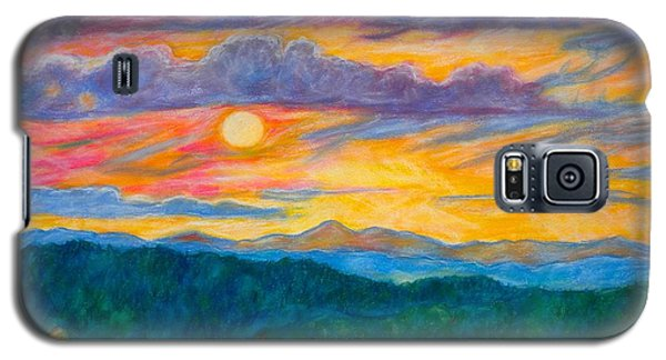 Galaxy S5 Case featuring the painting Golden Blue Ridge Sunset by Kendall Kessler