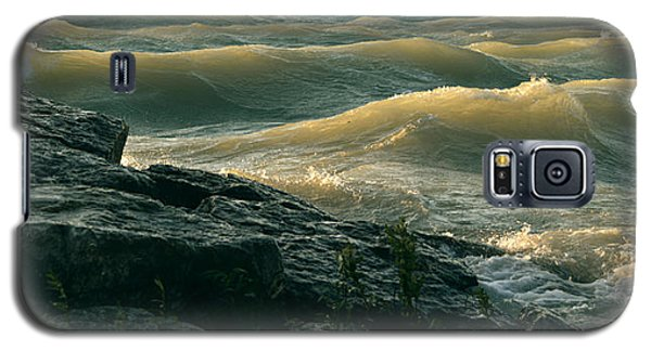 Golden Capped Sunset Waves Of Lake Michigan Galaxy S5 Case