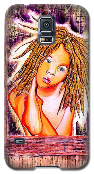 Galaxy S5 Case featuring the painting Golden Child by Julie Hoyle