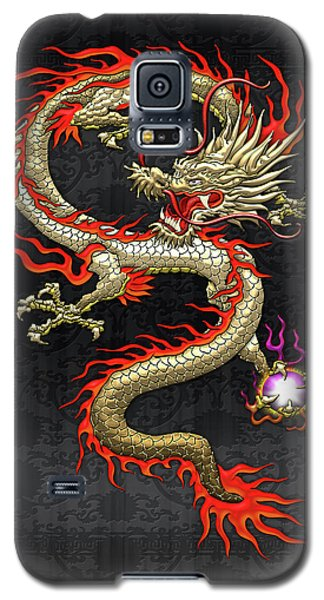 Golden Chinese Dragon Fucanglong On Black Silk Galaxy S5 Case