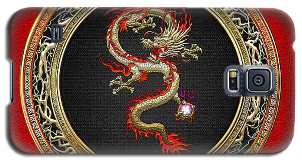 Galaxy S5 Case - Golden Chinese Dragon Fucanglong On Red Leather  by Serge Averbukh