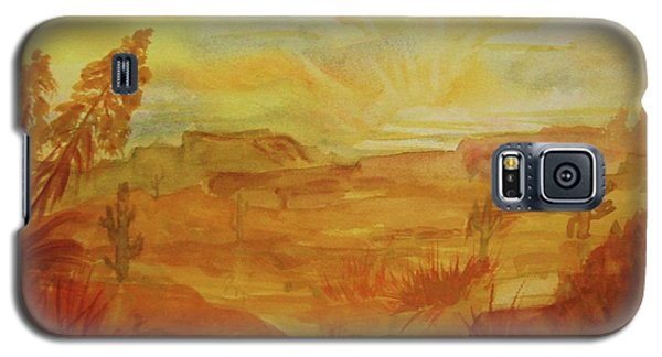 Galaxy S5 Case featuring the painting Golden Dawn by Ellen Levinson