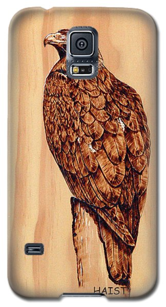 Galaxy S5 Case featuring the pyrography Golden Eagle by Ron Haist