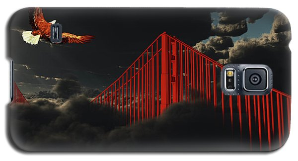 Golden Gate Bridge In Heavy Fog Clouds With Eagle Galaxy S5 Case by Bruce Rolff