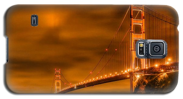 Galaxy S5 Case featuring the photograph Golden Gate Bridge - Nightside by Jim Carrell