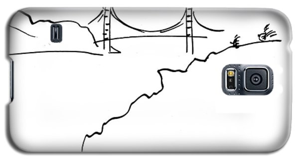 Galaxy S5 Case featuring the drawing Golden Gate Bridge by Patrick Morgan