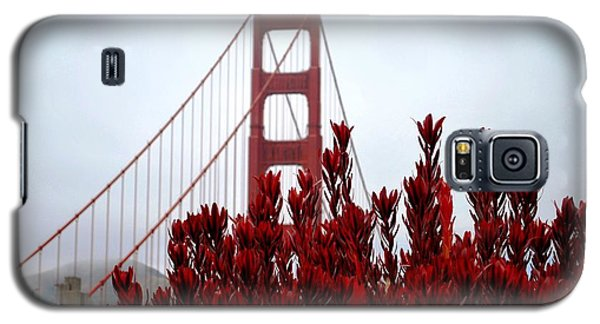 Golden Gate Bridge Red Flowers Galaxy S5 Case