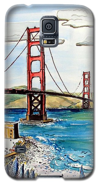 Galaxy S5 Case featuring the painting Golden Gate Bridge by Terry Banderas