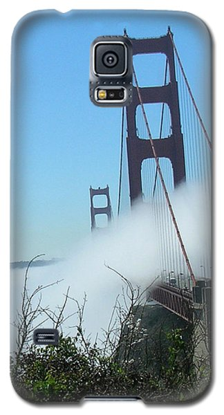 Galaxy S5 Case featuring the photograph Golden Gate Bridge Towers In The Fog by Bonnie Muir