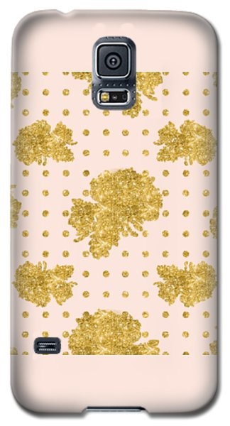 Golden Gold Blush Pink Floral Rose Cluster W Dot Bedding Home Decor Galaxy S5 Case by Audrey Jeanne Roberts