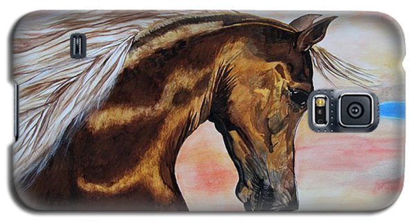 Galaxy S5 Case featuring the painting Golden Horse by Melita Safran