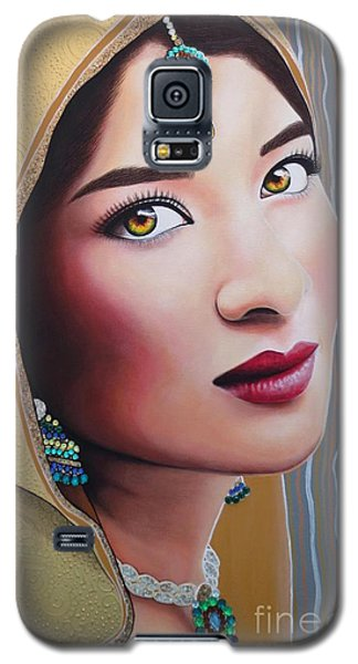 Galaxy S5 Case featuring the painting Golden Indian Bride by Malinda Prudhomme