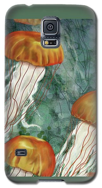 Golden Jellyfish In Green Sea Galaxy S5 Case